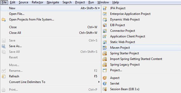 创建Maven应用程序 - 步骤1